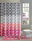 Hajar 15-piece Chains Bathroom Accessories Set Rugs Sower Curtain &...