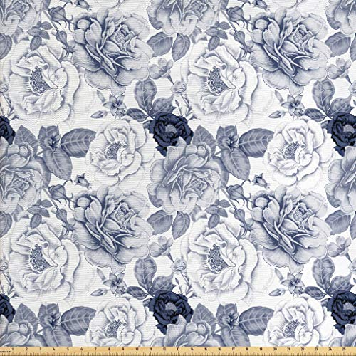 Ambesonne Shabby Chic Fabric The Yard, Garden Spring Roses Buds Leaves Flowers Romantic Image Artwork, Decorative Fabric Upholstery Home Accents, 1 Yard, Blue Grey White