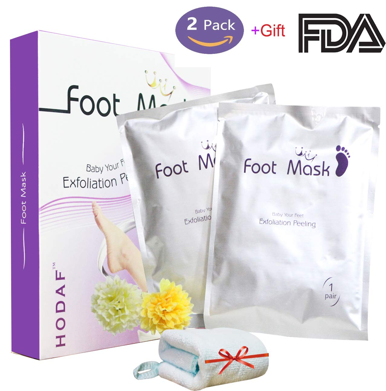Foot Mask 2 Pack Exfoliating Foot Peel Mask with Gift Towel, Foot Peeling Mask,Baby Soft & Smooth Feet,Calluses and Dead Skin Remover/Healthy Soak Socks Booties for Men and Women