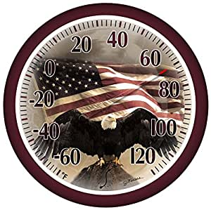 Springfield 90007-215 Round 13-1/4-inch Outdoor Thermometer Eagle Image