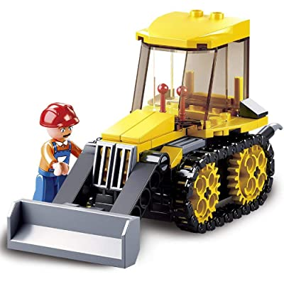 SlubanKids Creative Building Blocks Set | Imaginative Indoor Games Toys for Kids | Bulldozer, Excavator, Tractor , Dump Truck and More (Bulldozer): Toys & Games