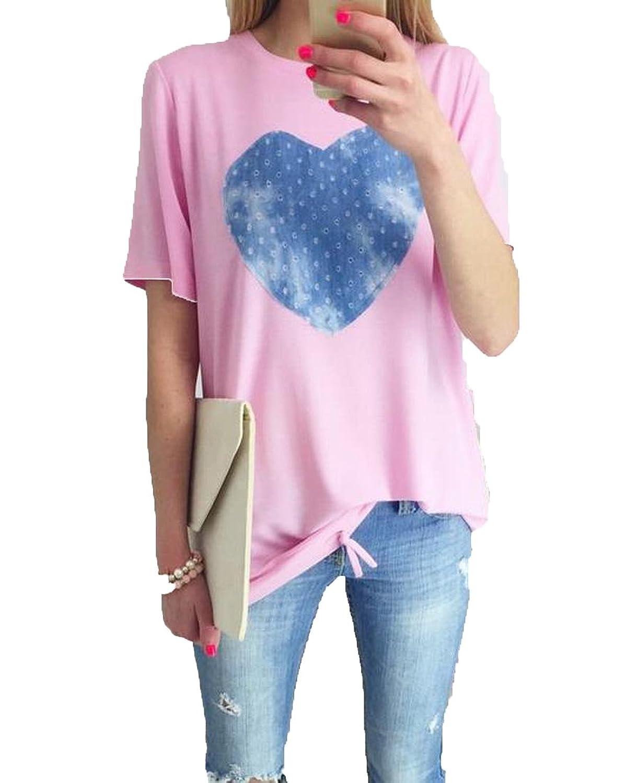 XQS Women's Printed Slim Drawstring Heart Round Neck Tshirt