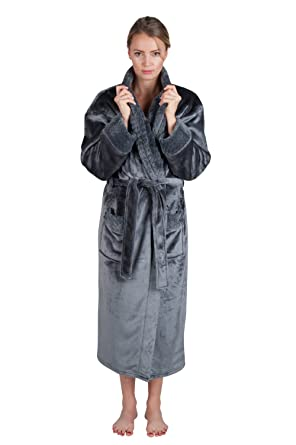 5e3c73cf40 Women s 48 quot  Spa Style Full Length Robe with Velvet Collar   Cuffs  (Small