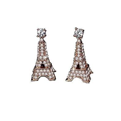 9e8aa1930 Godyce Heart Key Paris Eiffel Tower Pendant Necklace Long and Earrings  Studs 18k Gold Plated Zircon