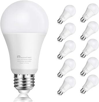 Led Light Bulbs 10 Watt 60 Watt Equivalent A19 E26 Dimmable 2700k Soft White 800 Lumens Medium Screw Base Energy Star Ul Listed By Mastery Mart Pack Of 10 Amazon Ca Electronics
