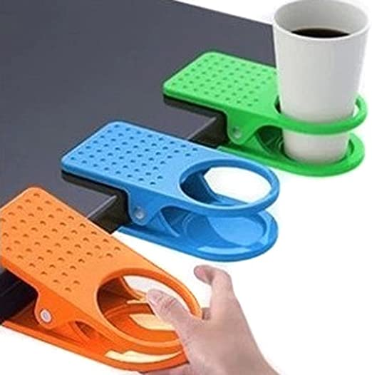 4 Pack Colored Drinking Cup Holder Clips Clamp for Home Office Desk Table Cup...