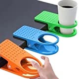 mollensiuer 4 Pack Colored Drinking Cup Holder Clips Clamp for Home Office Desk Table Cup Rack, Cup Holder Hole Diameter 63mm