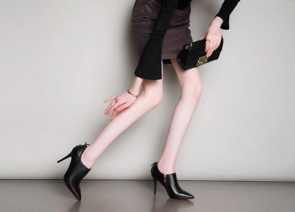 CXY Sexy Spitz mit Leder Damenschuhe in Europa im Winter Seitenreißverschluss Hochhackigen Frauen S Seitenreißverschluss Winter Einzelne Schuhe Schwarz 38 26a084