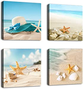 "Canvas Wall Art Bathroom Wall Decor Shell Starfish Drift Bottle Blue Beach Ocean Decor Canvas Picture Artwork Turquoise Contemporary Wall Art Bedroom Living Room Decoration 12"" x 12"" x 4 Pieces"