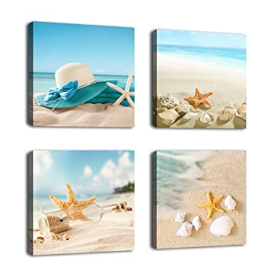 Canvas Wall Art Bathroom Wall Decor Shell Starfish Drift Bottle Blue Beach Ocean Decor Canvas Picture Artwork Turquoise Contemporary Wall Art Bedroom Living Room Decoration 12  x 12  x 4 Pieces