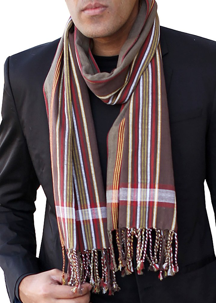 Men's George Modern Multicolor Stripe Scarf Natural Cotton, Brown