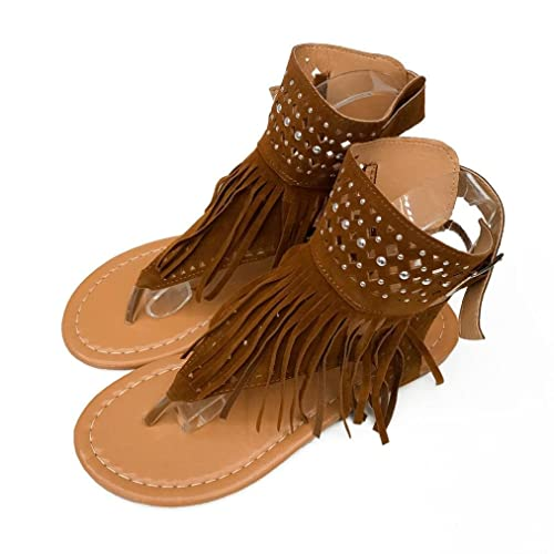 bbcb6325ccec Qisc Womens Suede Tassels Thong Flat Sandals Flip Flops Fringe Shoes for  Summer (US Size