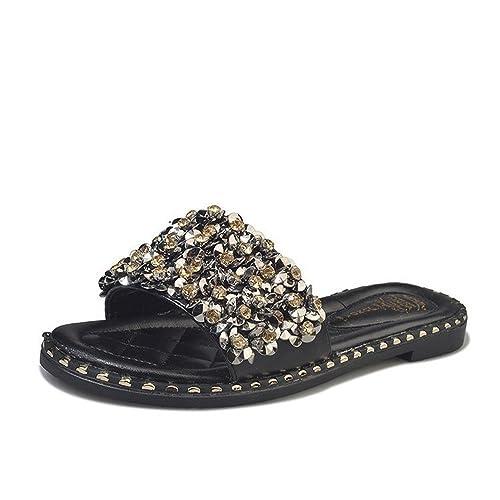 Zapatillas de Mujer de Diamantes de imitación con Cuentas Planas con Chanclas Antideslizantes Sandalias y Zapatillas de Playa de Moda, Negro,38EU: ...
