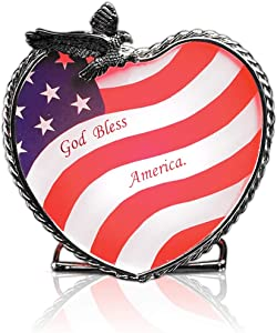 BANBERRY DESIGNS Patriotic Candle Holder American Flag and Bald Eagle Centerpiece 4th of July Decoration - God Bless America - Glass and Metal Tealight Holder