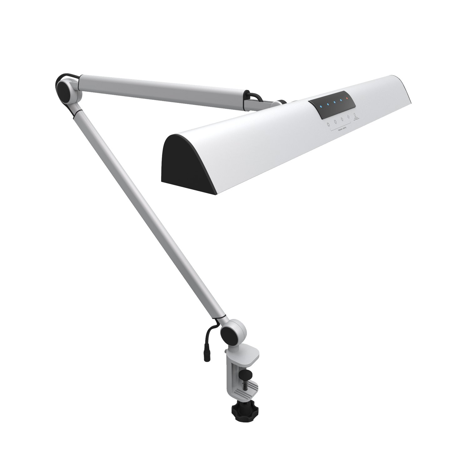YOUKOYI A509 LED Swing Arm Architect Desk Lamp Clamp, Drafting Table Lamp for Reading/ Working Silver(2 Lighting Modes, 4-level Dimmable, Eye Caring, Touch Control)