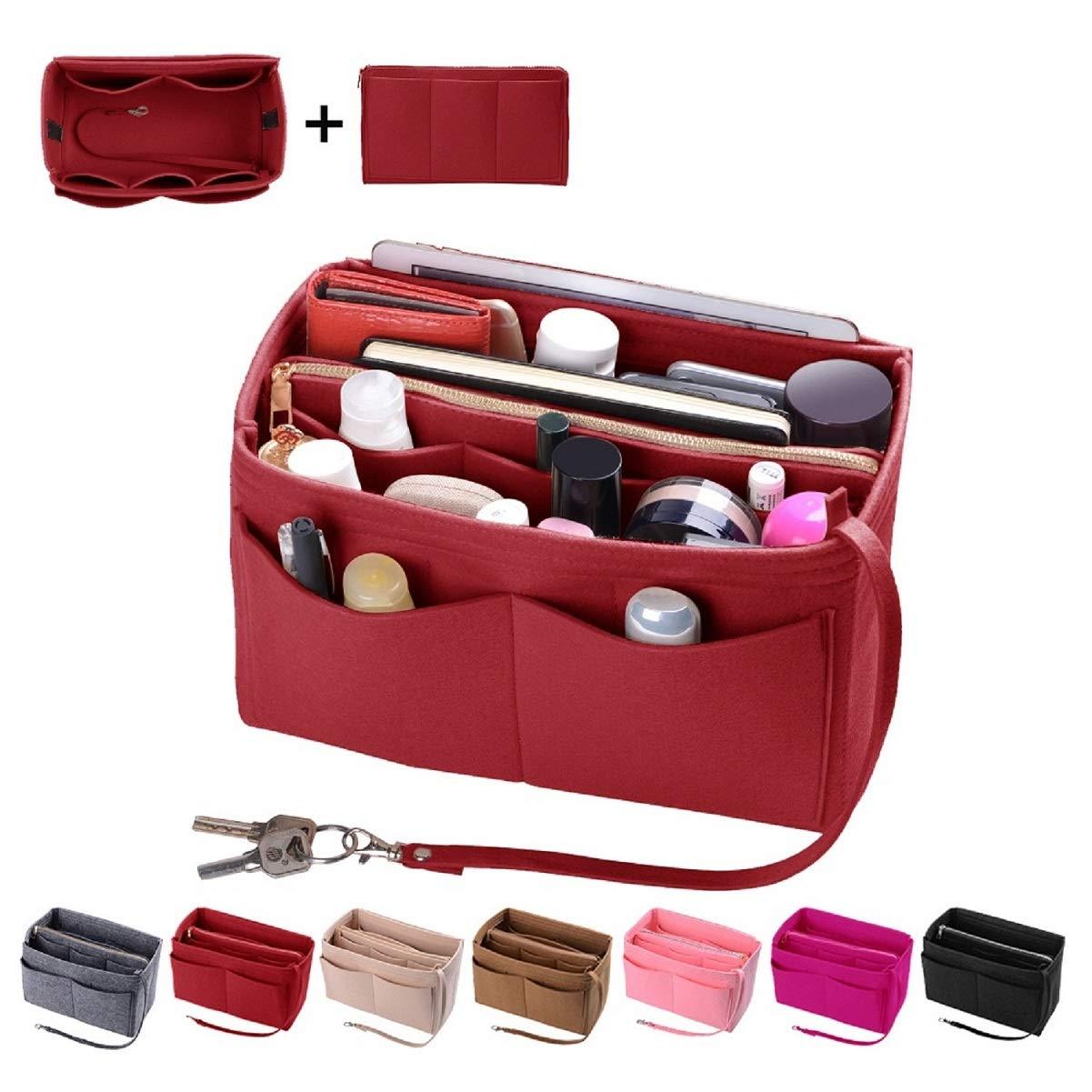 Purse Organizer Insert, Felt Bag organizer with zipper, Handbag & Tote Shaper, Fit LV Speedy, Neverfull, Longchamp, Tote (Slender Large, Red)