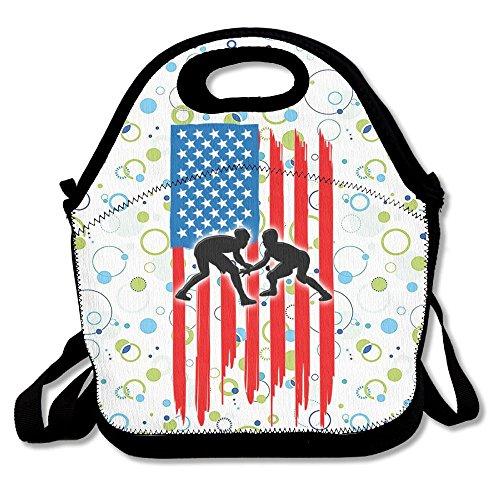Ojinwangji American Flag Wrestling Lunch Bag Thermal Bags Outdoor Picnic Meal Package For Boys Girls Women Kids