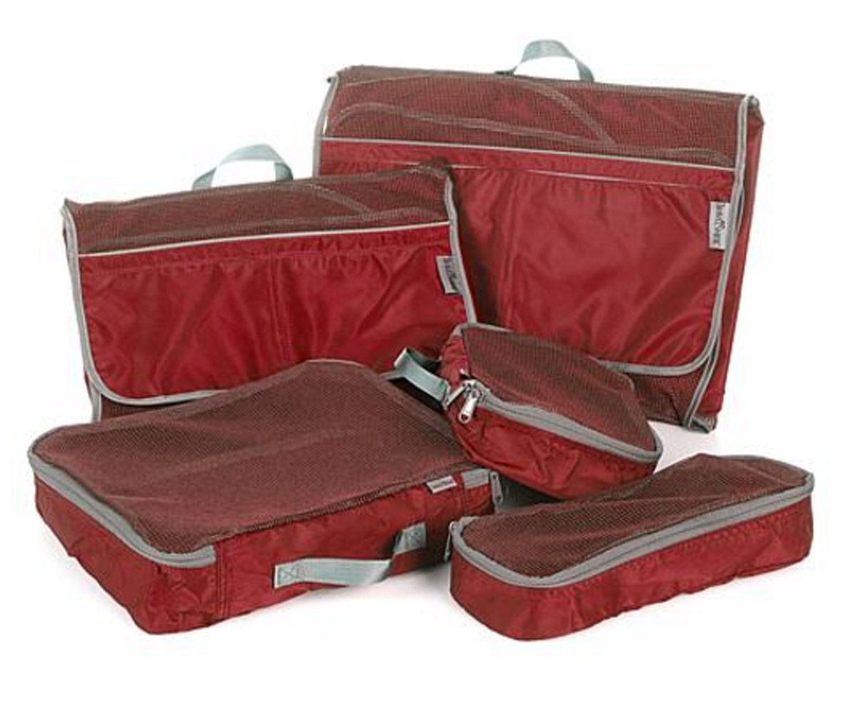 TravelSmith Smart Pack Organizers 5-piece Kit ~ Crimson Red