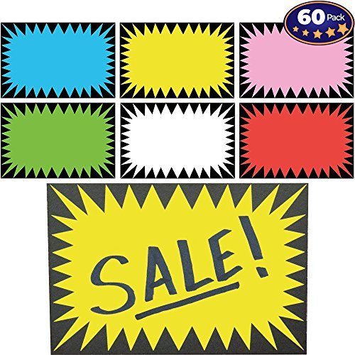 (Retail Genius Price Burst 60 Sign Pack. Boost Sales with Bright Display Tags. Durable, Easy to Write On Star Cards Are Great for Yard, Estate & Garage Sale, Fundraiser, Store,)