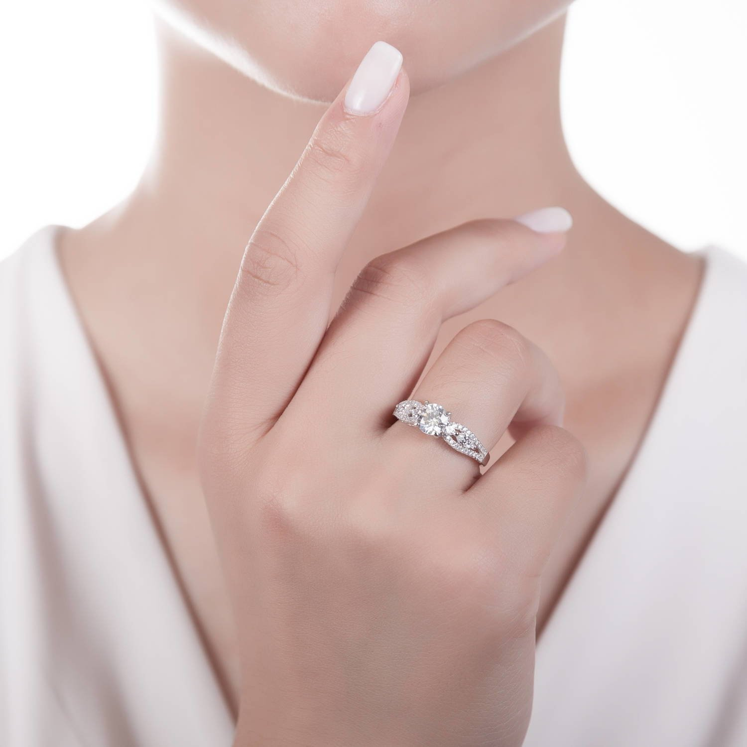 Amazon.com: BERRICLE Rhodium Plated Sterling Silver Solitaire ...