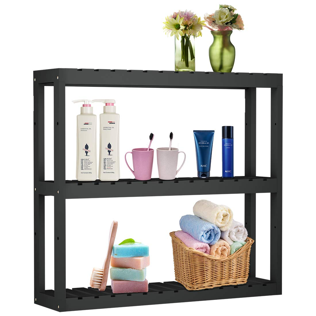 Bathroom Shelf 3-Tier Wall Mount Shelf Storage Rack Adjustable Layer Living Room Kitchen Free Standing Multifunctional Utility Black by Domax