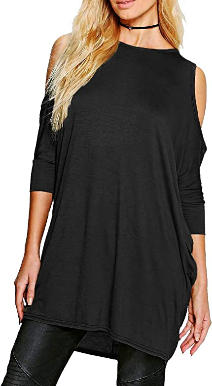Womens Cut Out Cold Shoulder Ladies Batwing Long Top Tunic Loose Baggy Oversize