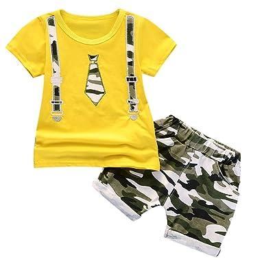 Ropa Bebé Recién Nacidos, ❤ Zolimx Camiseta con Estampado de Lazo de Manga Corto para Niños + Pantalones Cortos de Camuflaje Infantil Trajes: Amazon.es: ...