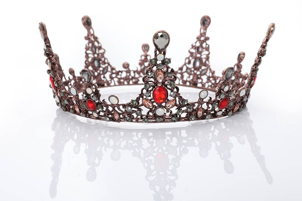 Women's Queen of Hearts Black Silver and Red Crystal Crown - DeluxeAdultCostumes.com