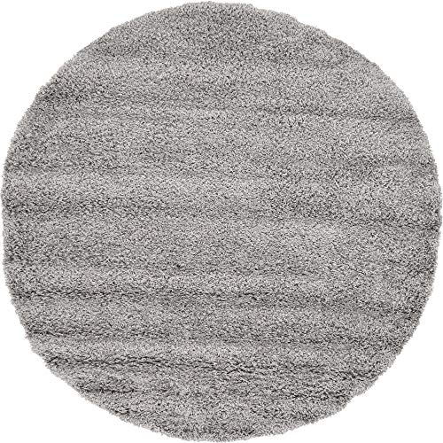 Unique Loom Solo Solid Shag Collection Modern Plush Cloud Gray Round Rug (6