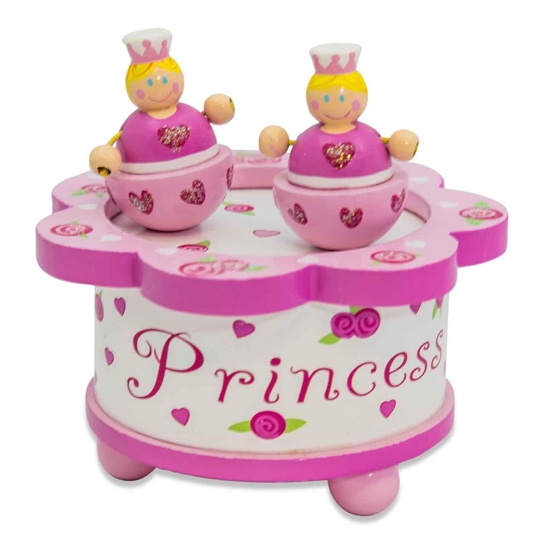 """Rosa Musikspieluhr aus Holz mit magnetischer Figur Sch/öne Spieluhren Lucy Locket /""""Prinzessin/"""" Spieluhr f/ür Kinder mit tanzender Figur"""