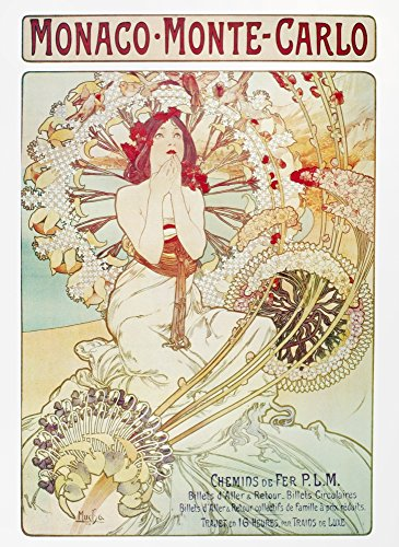 (Mucha Monaco 1897 Nadvertisement For Monaco And Monte Carlo Lithograph By Alphonse Mucha 1897 Poster Print by (18 x)