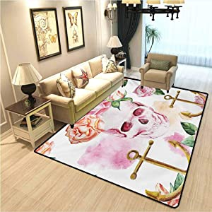 Skull Warm and Soft Living Room Rug Nautical Anchor with Victorian Roses Peonies Vintage Art Design Print Interior Bedroom Decorative Rug White Pink Brown Green W2xL3 Ft