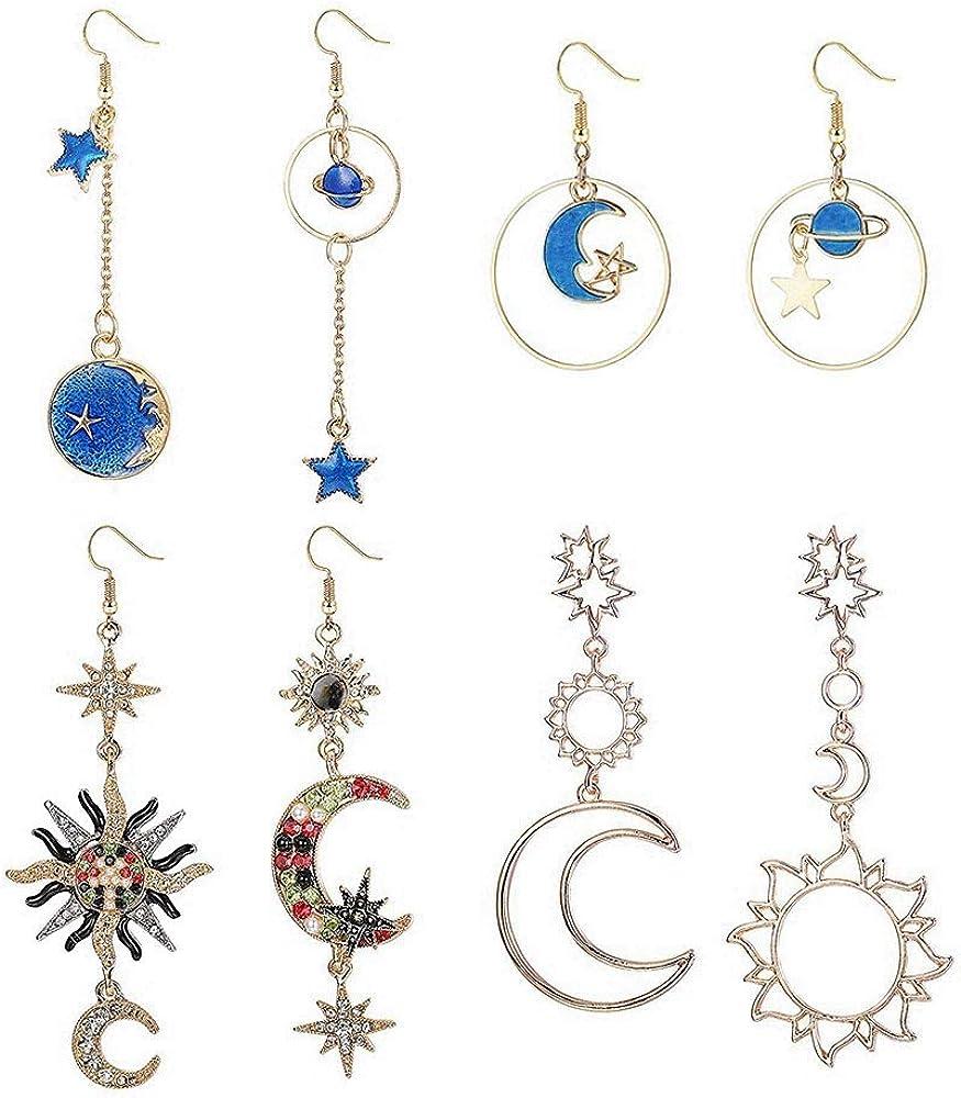 Finrezio 4 Pares Pendientes Bohemia Luna y Estrella Tierra Hueca Pendientes Asimétricos Para Mujeres Niñas Joyas De Aretes Largos y Colgantes De Cristal