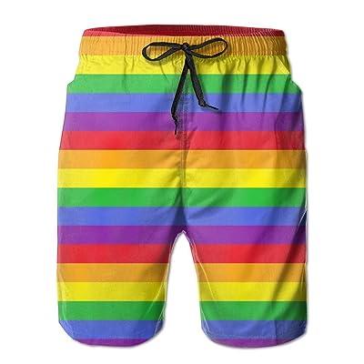 xj Rainbow Stripes Men's Quick Dry Swim Trunks Beach Shorts Pants Home Shorts