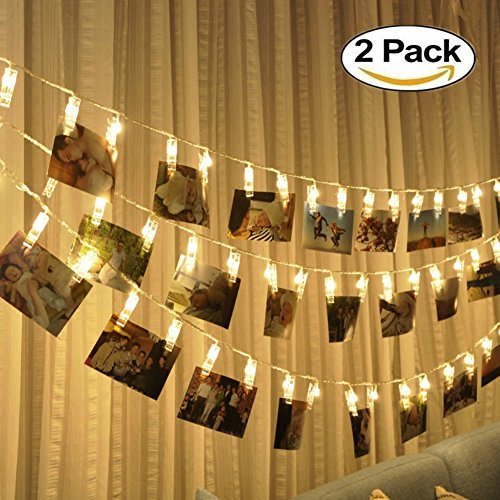 led string lights with photo clips battery operated indoor outdoor decorative fairy lights for bedroom, patio, dorm room, wedding, party, photo holder with 10 clips (2 pack)