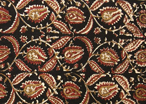 Indian Fabric 100% Cotton Kalamkari Block Print for Sewing Crafts Home Décor 2.5 Yard by ()