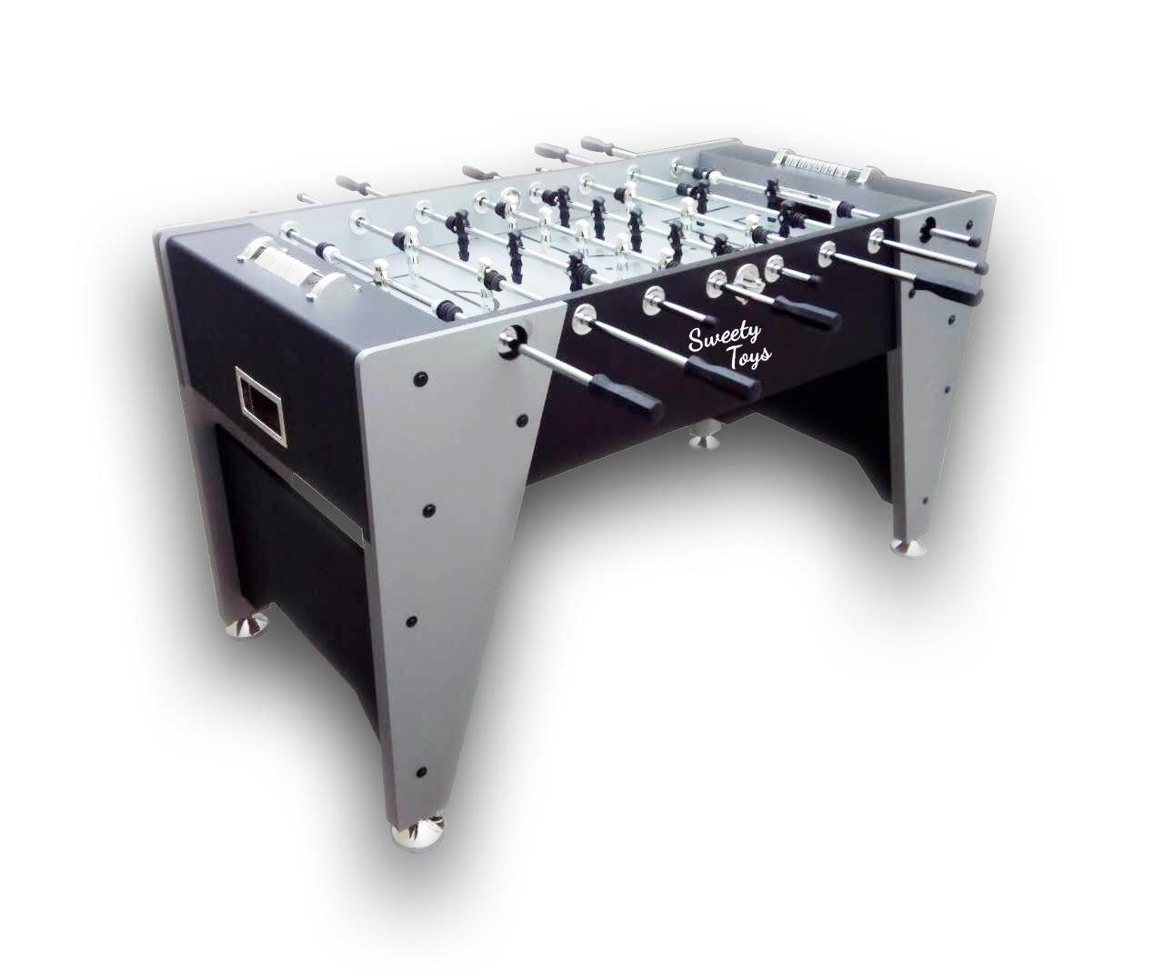 Sweety Toys 6670 Tisch Kicker Tisch Fussball silber/schwarz/grau
