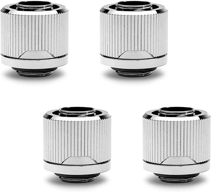"EKWB EK-Quantum Torque STC-12/16 Compression Fitting for Soft Tubing, 12/16mm (7/16"" ID, 5/8"" OD), Nickel, 4-Pack"