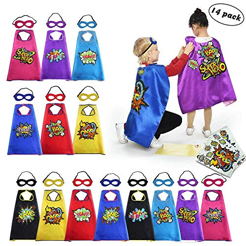 (Superhero Capes Masks for Kids with Stickers Girls Halloween Dress Up Party)