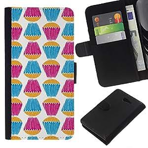WINCASE Cuadro Funda Voltear Cuero Ranura Tarjetas TPU Carcasas Protectora Cover Case Para Sony Xperia M2 - trullo púrpura dulces blancos hornear
