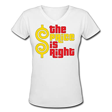 59c99748135 Amazon.com  Women s The Price Is Right 100% Cotton V Neck Short Sleeve T- Shirt  Clothing