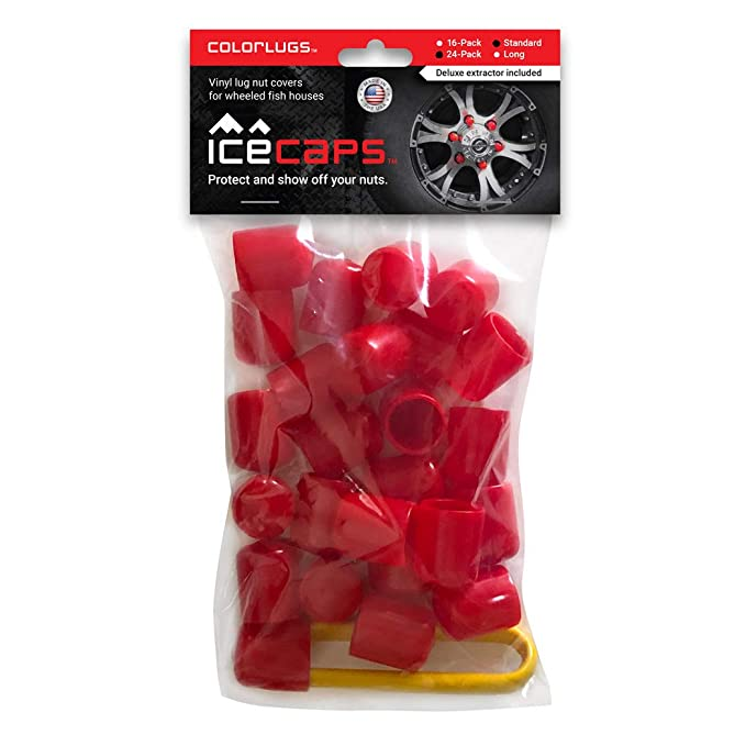 Made in The USA ColorLugs IceCaps Vinyl Lug Nut Covers for Wheeled Fish Houses and Mobile Ice Huts with Deluxe Extractor Red, 25 Pack Fit 19 mm Wide x 1/½ Inch Deep