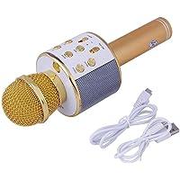 Piqancy Wireless Bluetooth WS-858 Microphone Recording Condenser Handheld Microphone W/Speaker for Cellphone Karaoke