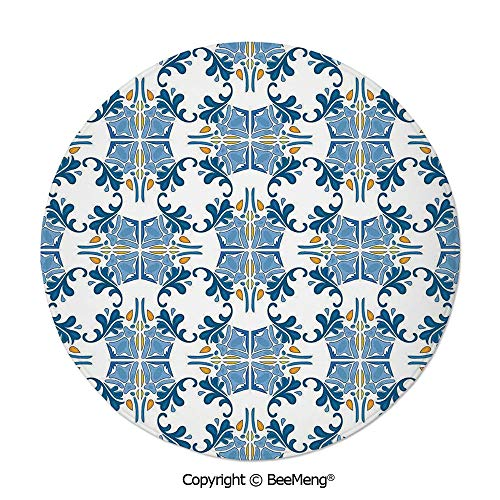 Diameter47 inch,Printing Round Rug,Dragonfly,Mat Door Floor Rug Area Rug for Chair Living Room Mat Non-Slip Soft Entrance,,Traditional House Decor,Roman Tile Mosaic Design with Famous Artful Eastern I