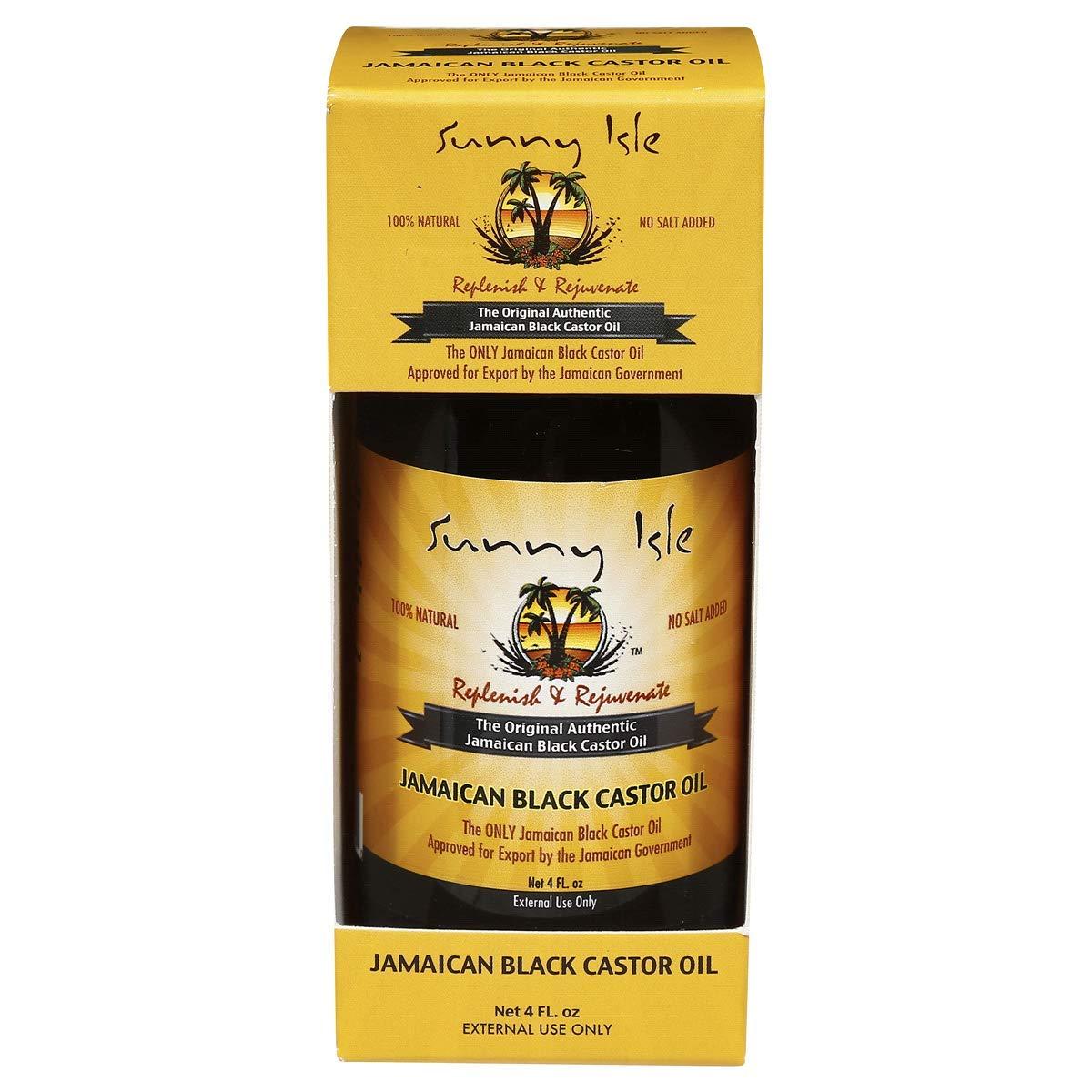 Sunny Isle Jamaican Black Castor Oil Original 100% Pure Castor Beans Oil For Hair, Eyelashes And Eyebrows 4 oz