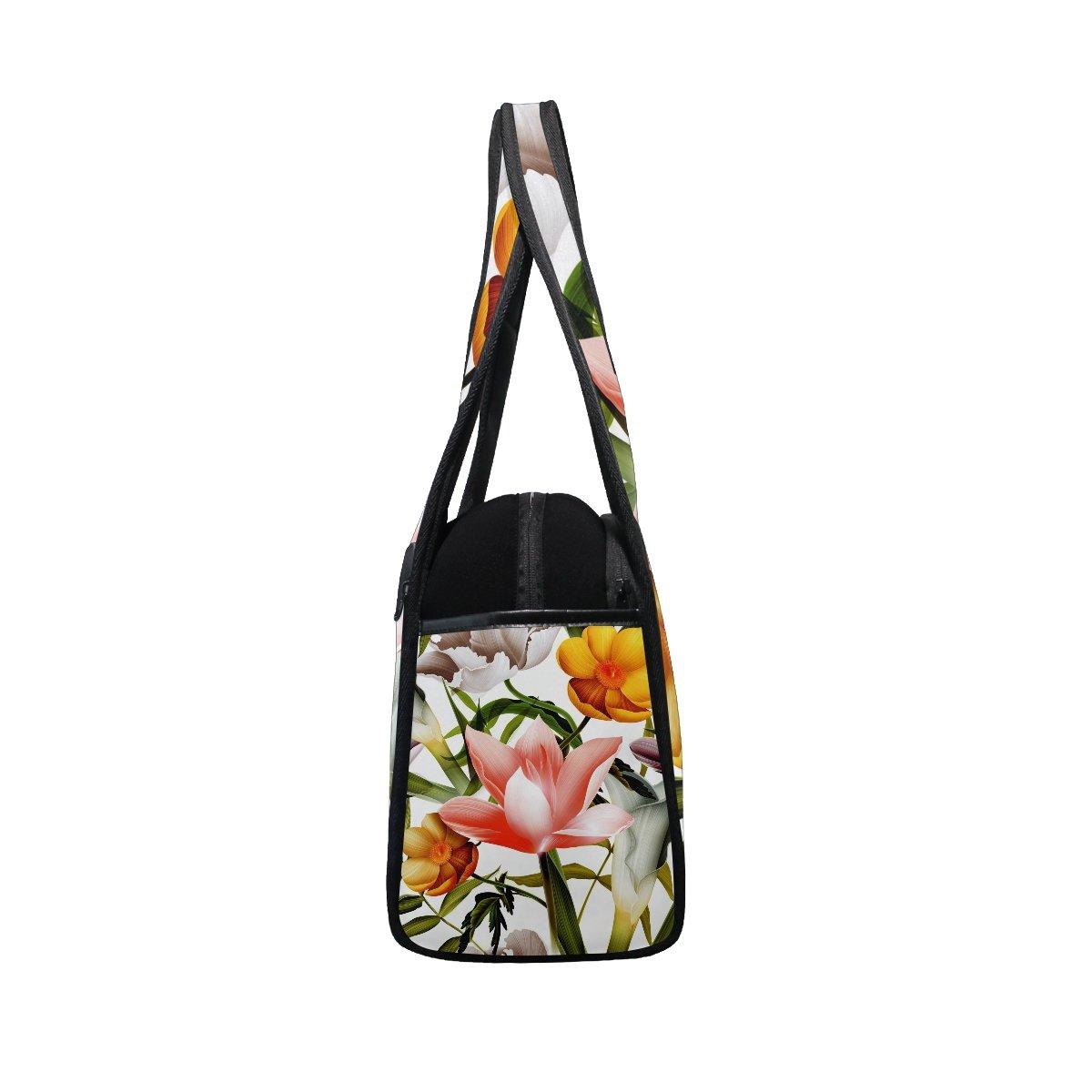 Gym Bag Sports Holdall Tropical Poppy Flowers Leaf Canvas Shoulder Bag Overnight Travel Bag for Men and Women