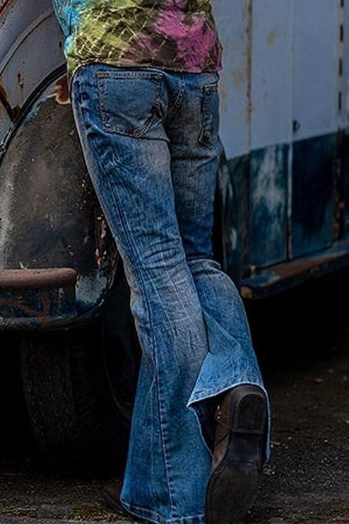 Vintage 70s jeans James flared high rise medium blue washed size 38