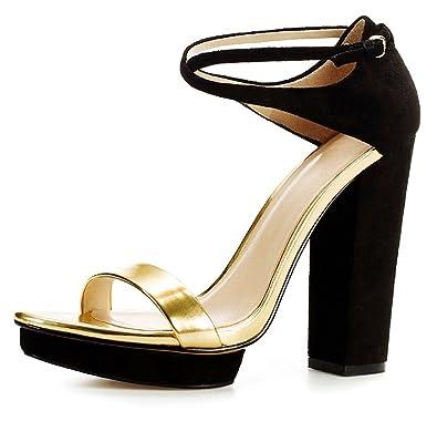 2e03f14062e Zara Wide-Heel Strappy Sandals in Black (10 B(M) US)