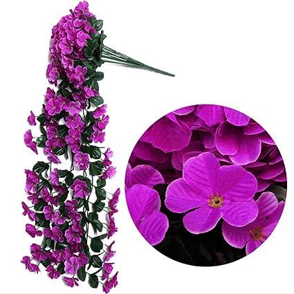 Home Decor Wall Hanging Plant Rattan Garden Artificial Flower Silk Violet
