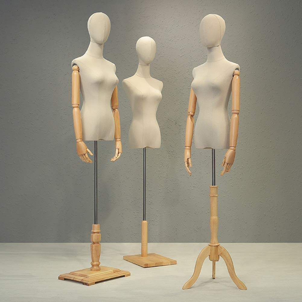 2 Sizes Color : Brown, Size : S HAIPENG Female Mannequin Torso Body Dress Form with Tripod Stand and Wooden Arms for Clothing Dress Jewelry Display